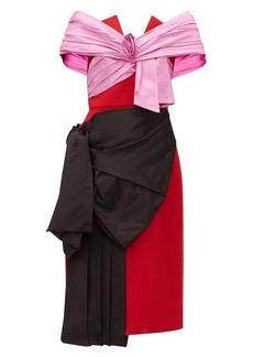 Prada Gathered satin and wool-twill dress
