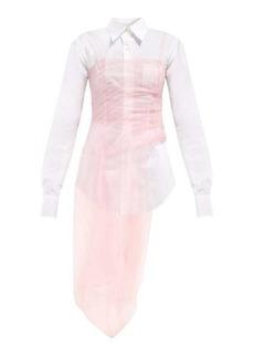 Prada Gathered tulle bustier cotton-poplin shirt