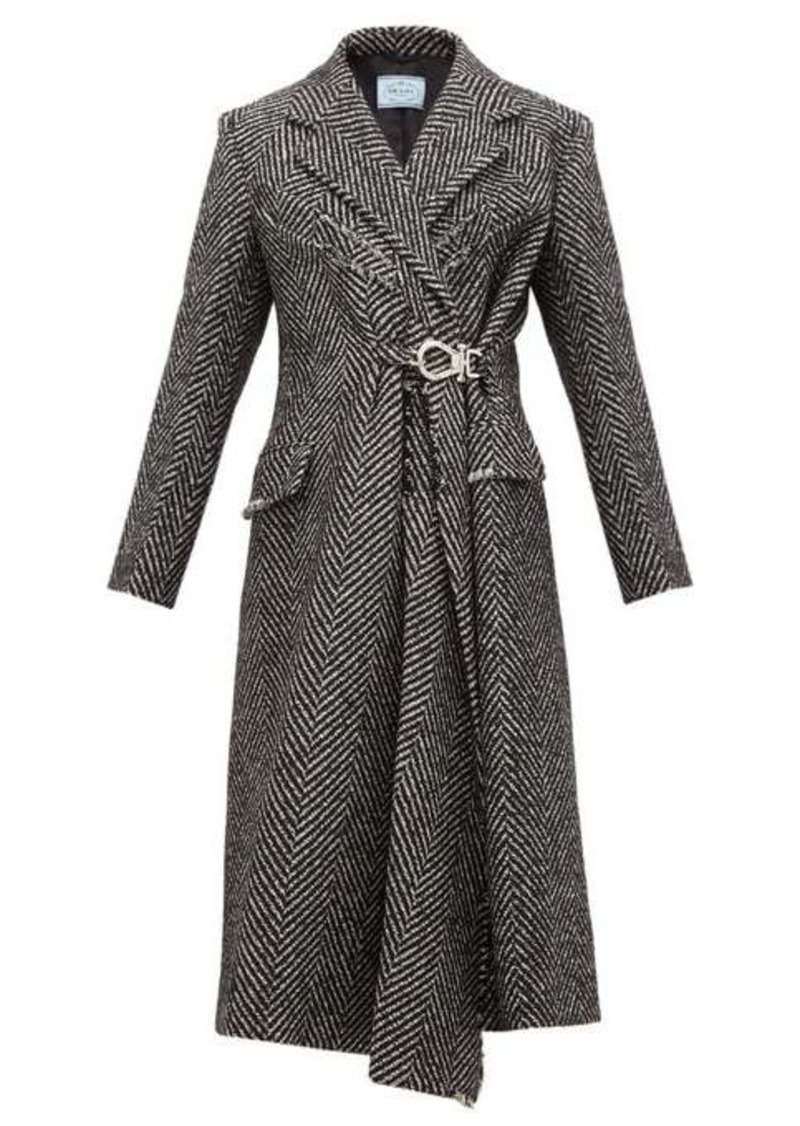 Prada Gathered-waist raw-edge wool-blend coat