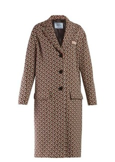 Prada Geometric-jacquard single-breasted coat