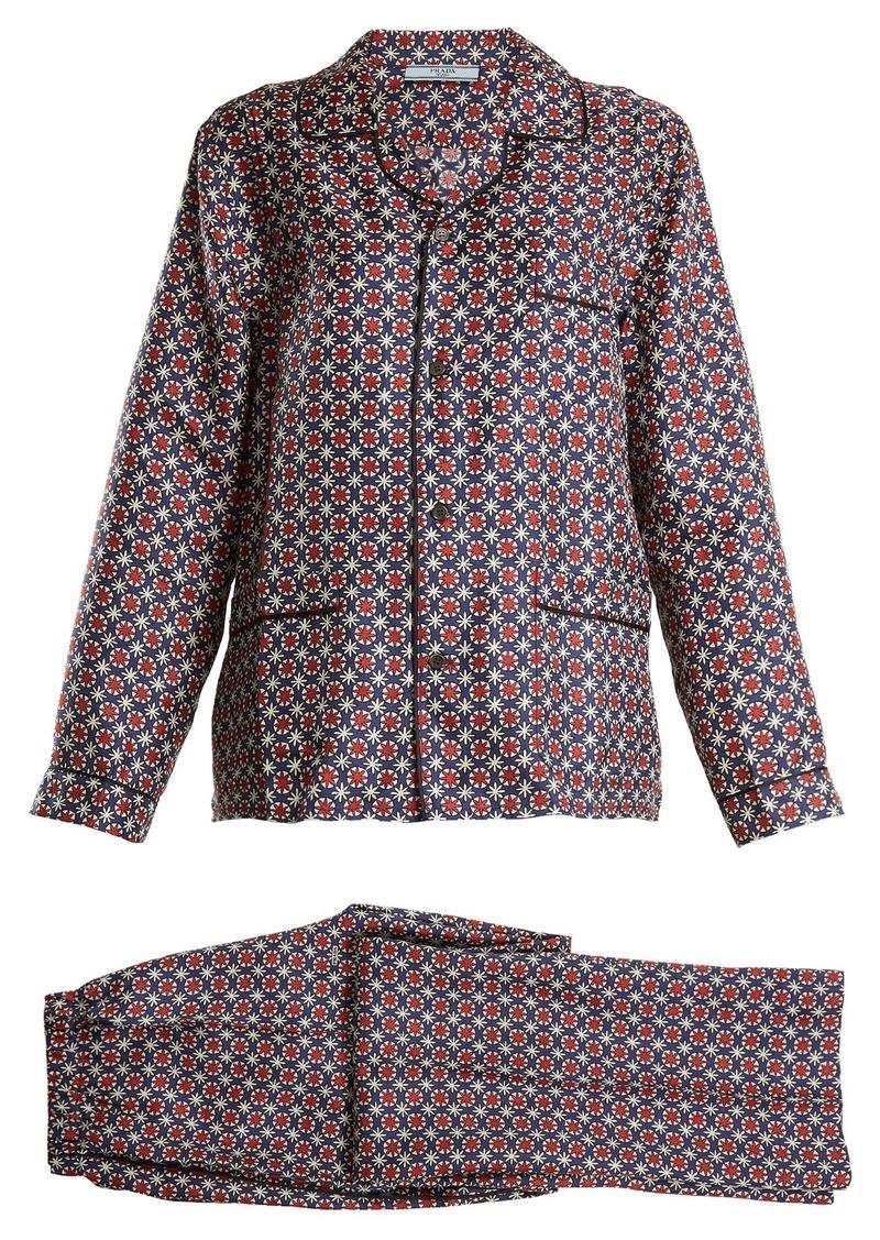 d3f95319cac77 SALE! Prada Prada Geometric-print silk pyjama set