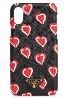 Prada Heart Saffiano Leather iPhone X Case