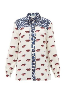 Prada Hearts and lip-print silk blouse