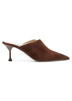 Prada High-cut suede mules