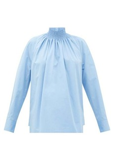Prada High-neck cotton-poplin blouse