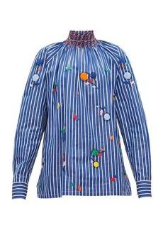 Prada High-neck embroidered cotton-poplin blouse