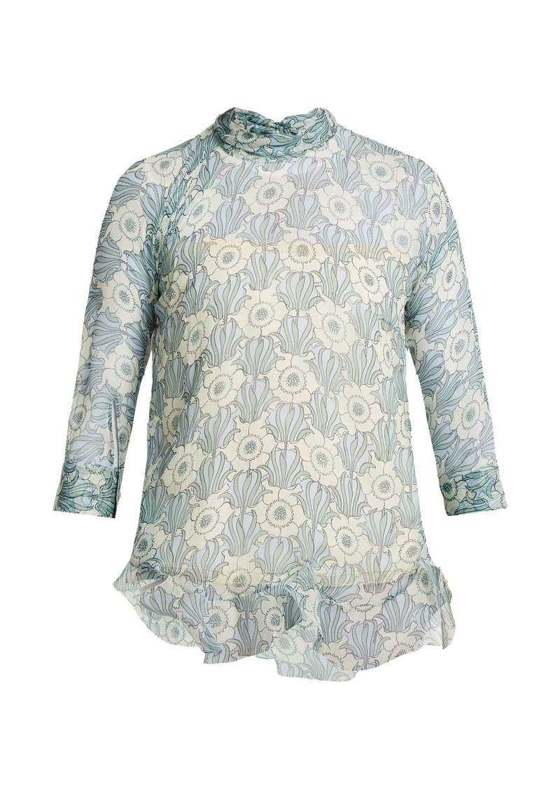 3a89b5bc534dad Prada Prada High-neck jasmine-print silk-crepe blouse