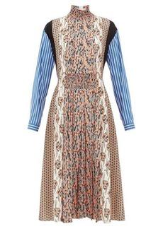 Prada High-neck patchwork-print sablé midi dress