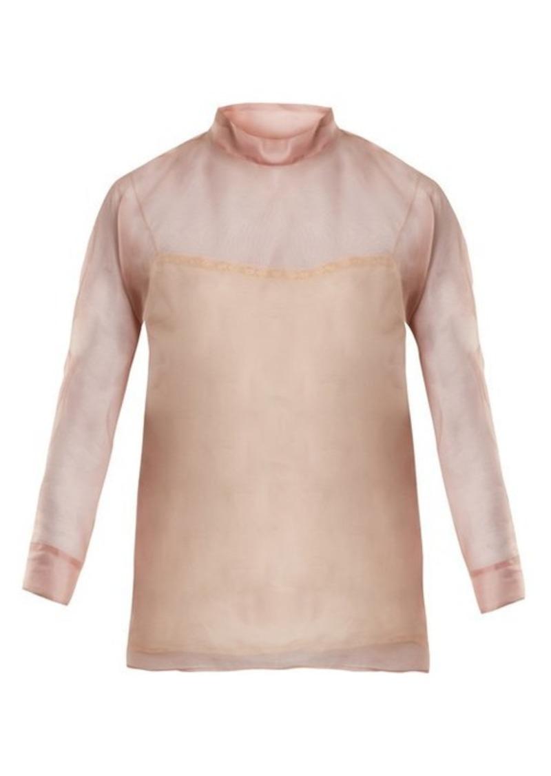 b5af9aab231d36 Prada Prada High-neck silk-organza blouse