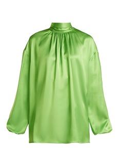 Prada High-neck tie-back silk blouse