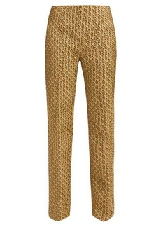 Prada High-rise geometric-brocade trousers