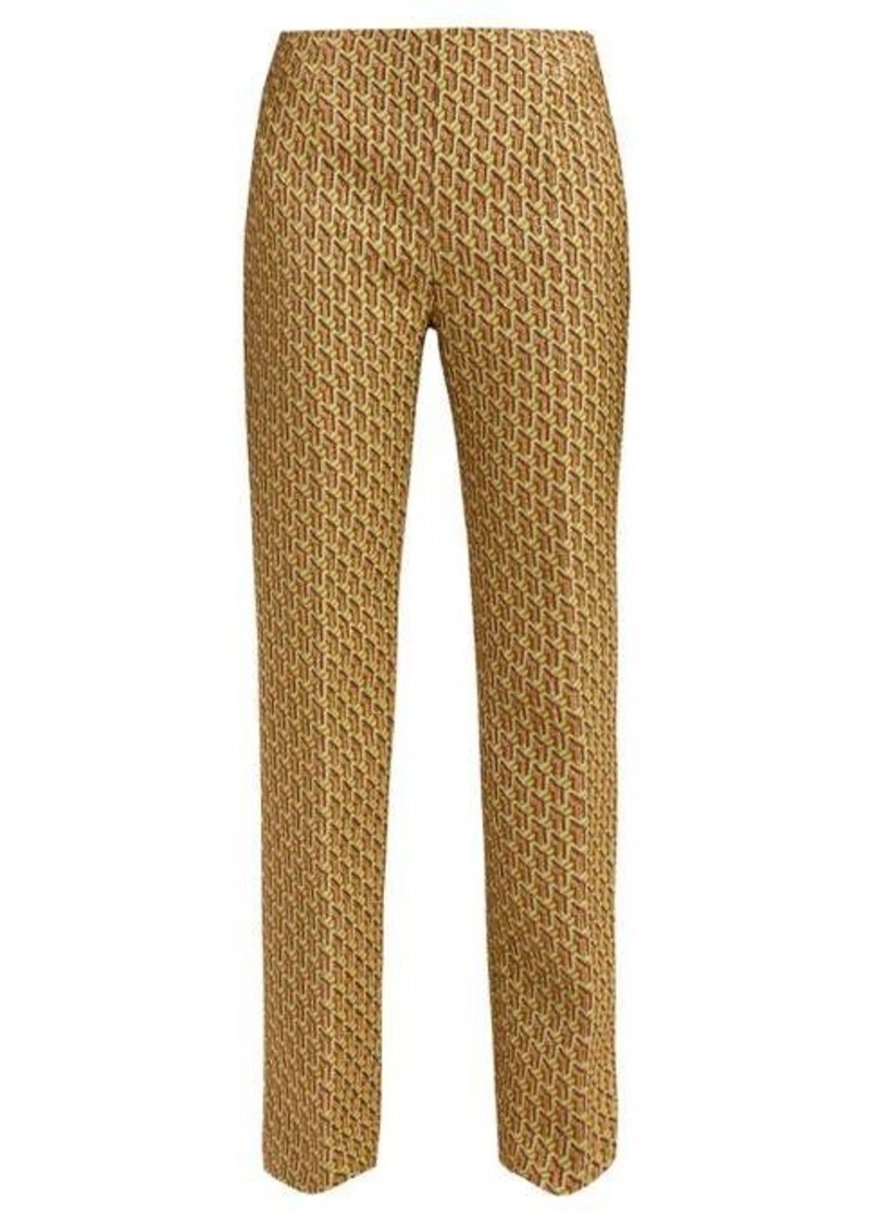 Prada High-rise geometric-brocade trousers