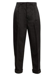 Prada High-rise paperbag-waist satin trousers
