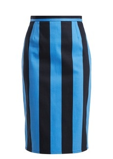 Prada High-rise striped denim pencil skirt