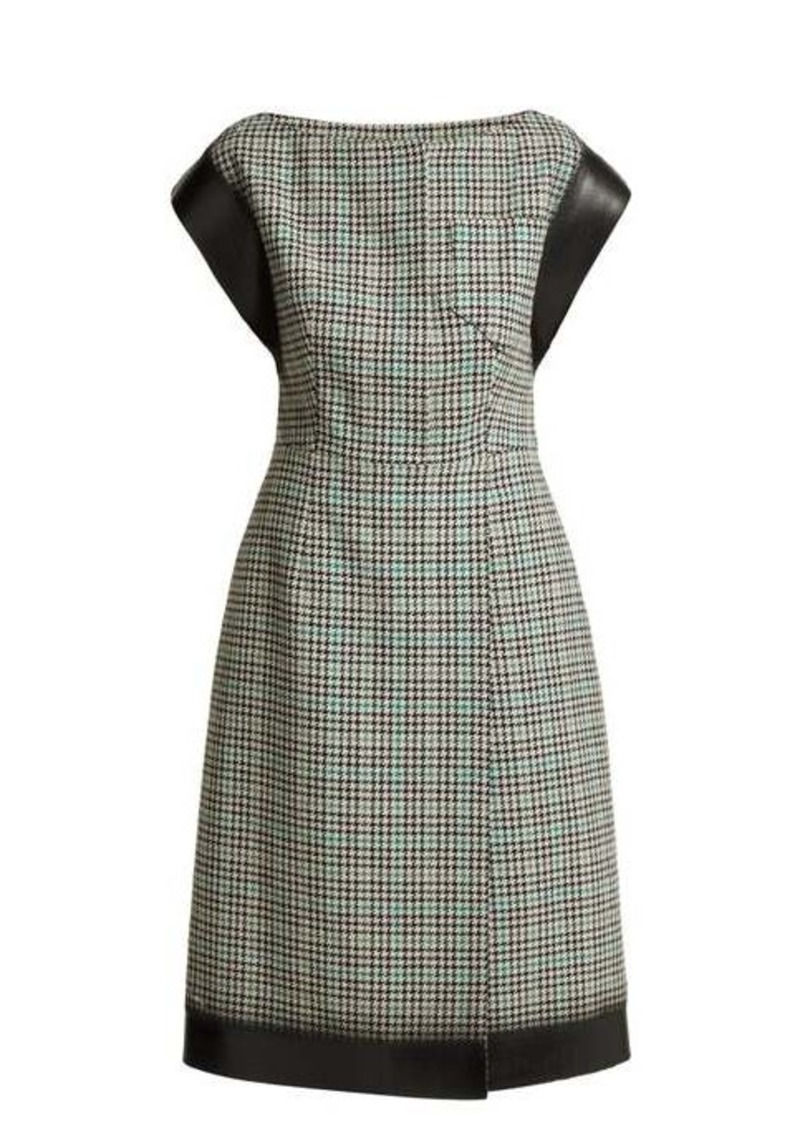 Prada Houndstooth check wool-blend tweed dress