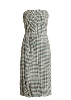 Prada Houndstooth checked wool-blend strapless dress