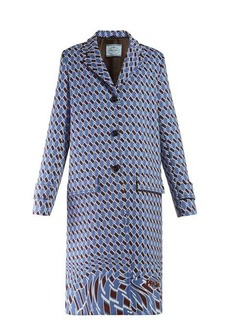 Prada Houndstooth-print single-breasted coat