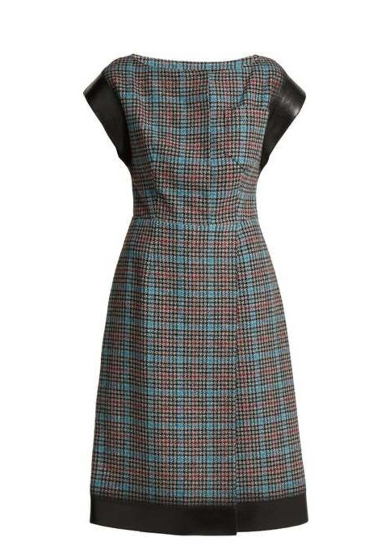 Prada Houndstooth wool-blend dress