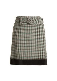 Prada Houndstooth wool-blend tweed midi skirt