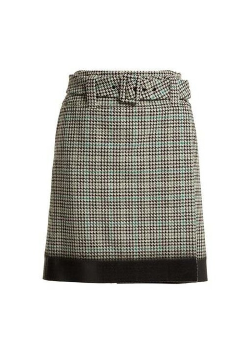 Prada Houndstooth wool-blend tweed midi skirt