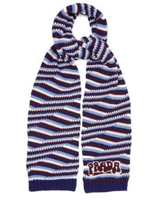 Prada Intarsia-logo striped cashmere scarf