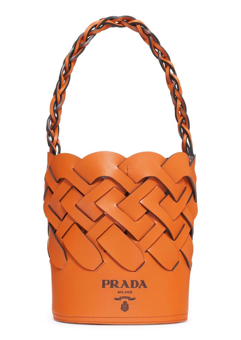 Prada Intreccio Calfskin Leather Bucket Bag