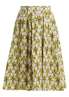 Prada Iris-print cotton-poplin skirt