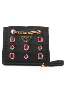 Prada Jewel Embellished Nylon Shoulder Bag