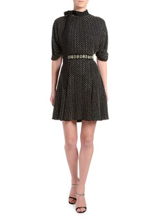 Prada Jewel-Neck Blouson-Sleeve Dress