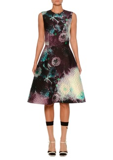 Prada Jewel-Neck Sleeveless Fit-and-Flare Abstract-Print Fil Coupé Dress