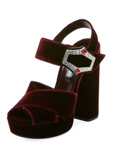 Prada Jeweled Velvet Block-Heel Sandals