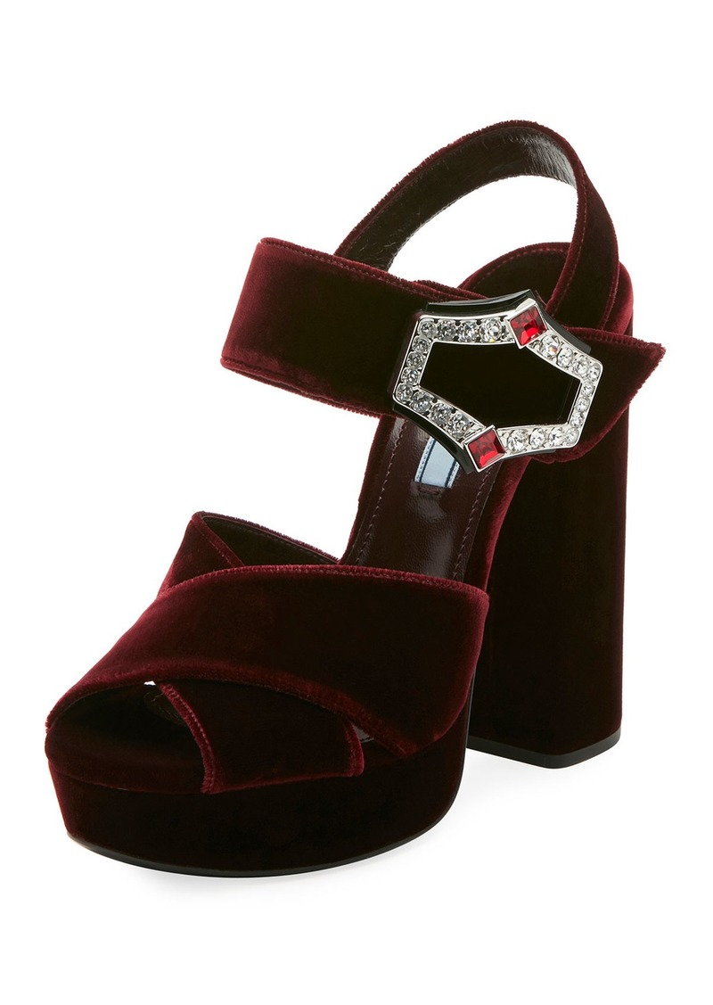 f3a305b1a013ca Prada Prada Jeweled Velvet Block-Heel Sandals | Shoes