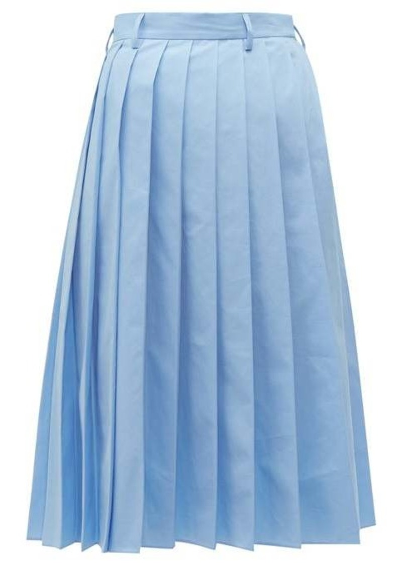 Prada Knife-pleated cotton-poplin midi skirt