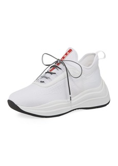 Prada Knit Lace-Up Trainer Sneakers
