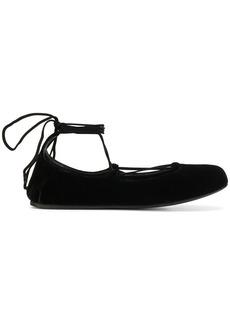 Prada lace-up ballerinas - Black
