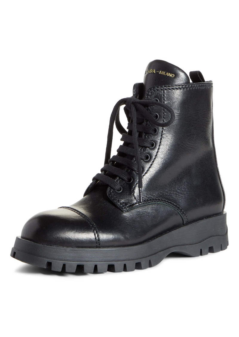 Prada Lace-Up Combat Boot (Women)