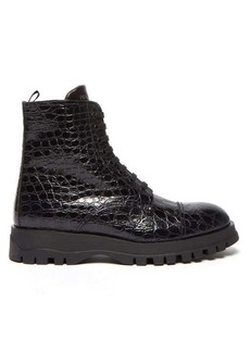 Prada Lace-up crocodile-effect leather boots
