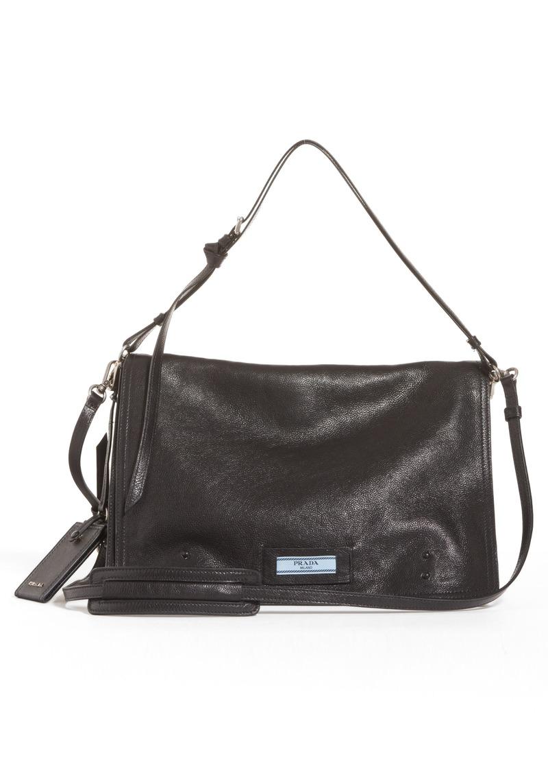 e808924fbb047b Prada Prada Large Etiquette Patch Leather Bag   Handbags
