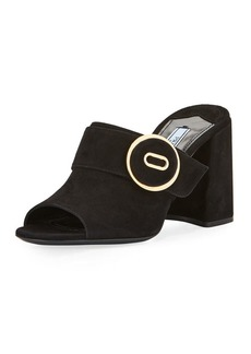 Prada Leather Button Block-Heel Mule Sandal