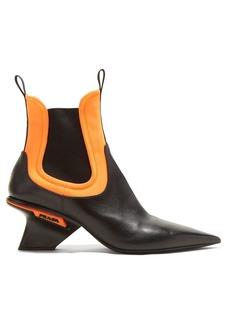 Prada Leather neoprene insert point-toe chelsea boots