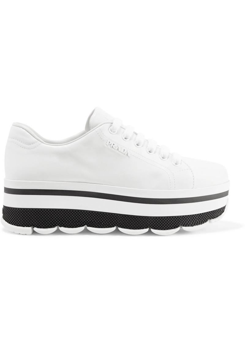 6df63f5cdae7 Prada Logo-embellished leather platform sneakers