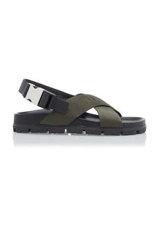 Prada Leather-Trimmed Canvas-Jacquard Sandals