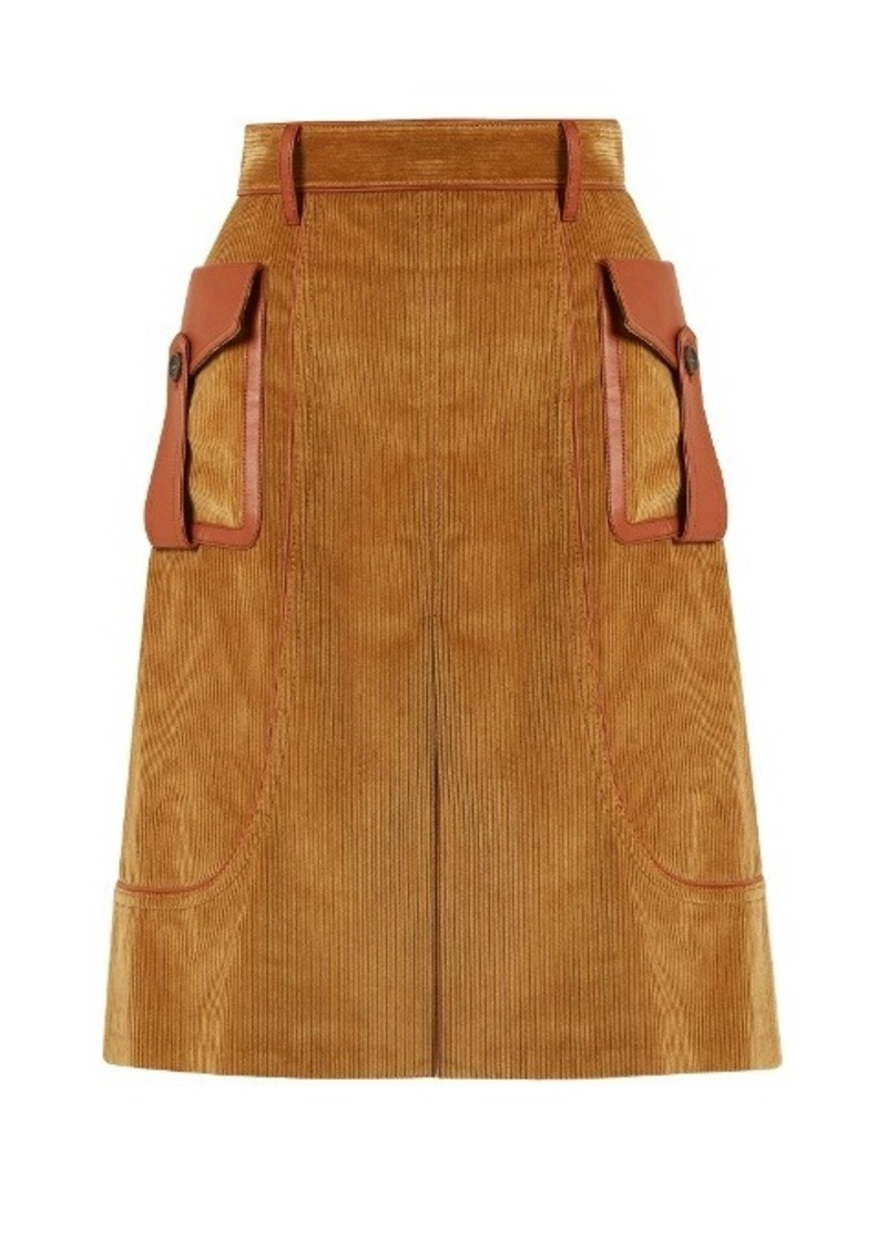 Prada Leather-trimmed cotton-corduroy skirt