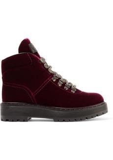 Prada Leather-trimmed velvet ankle boots
