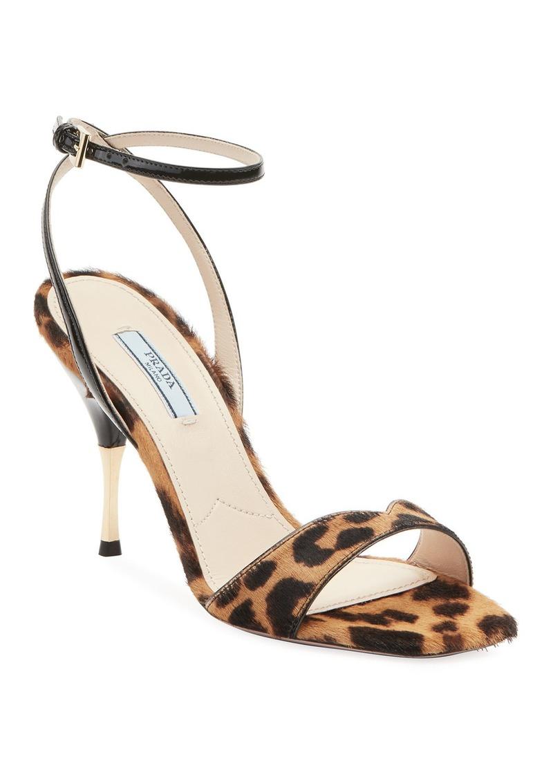 Prada Leopard Calf Hair Sandals