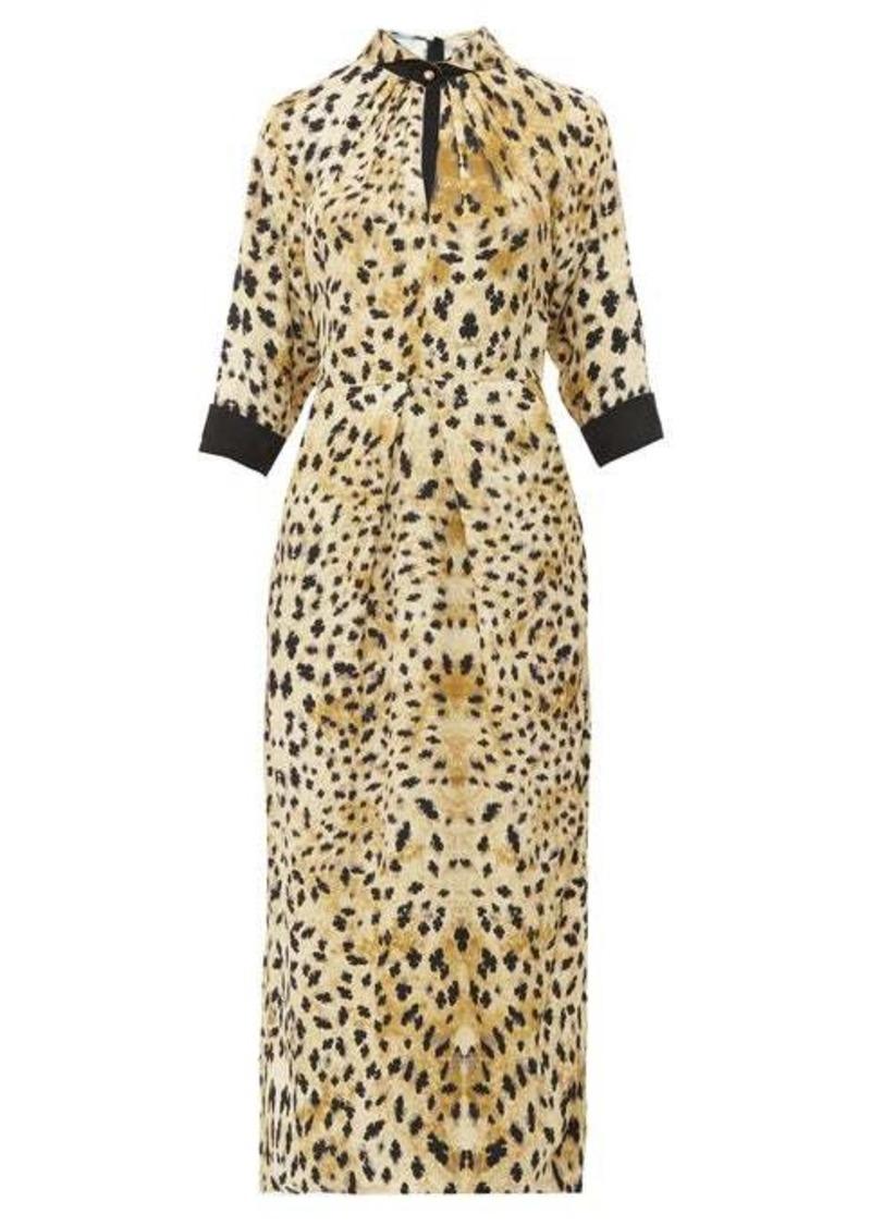 Prada Leopard-print cut-out sablé midi dress