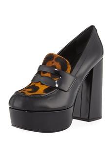 Prada Leopard-Print Fur Loafer Pumps