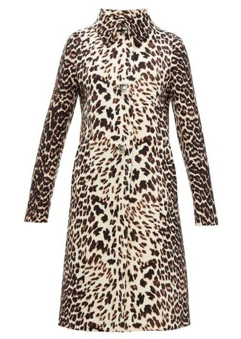 Prada Leopard-print single-breasted wool coat