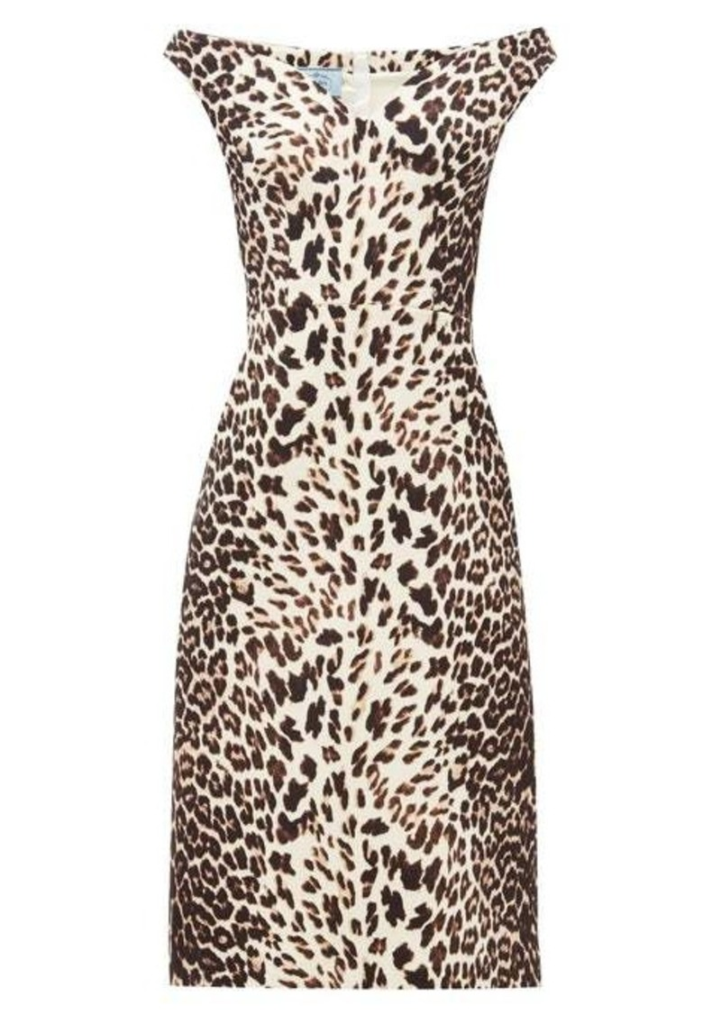 Prada Leopard-print off-the-shoulder wool dress