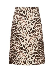 Prada Leopard-print wool-twill skirt